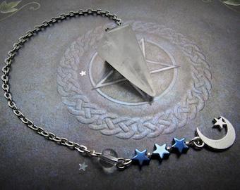 Premium Clear Quartz Pendulum with a Moon, Moon Pendulum, Quartz Pendulum, Yes No pendulum, Pendulum dowsing, Clear Quartz pendulum