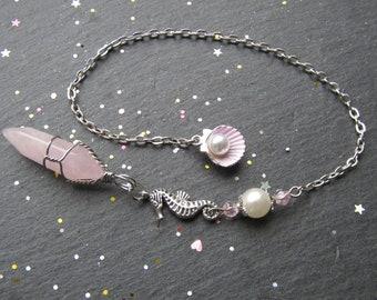 Aphrodite Rose Quartz Pendulum, Rose Quartz Pendulum, Sea Pendulum, Shell Pendulum, Pearl Pendulum dowsing, Pendulum for Sea Lovers