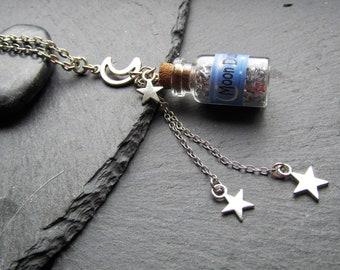 Moon Dust Mini Bottle Necklace, Mini Bottle Necklace, Vial Necklace, Moon Necklace, Moon Dust, Moon bottle, Bottle Charm, Fantasy Necklace