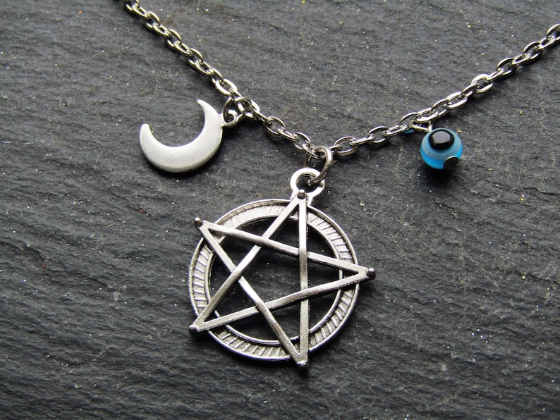 Wicca Necklace Pentacle Pendant Evil Eye Necklace Pentacle Necklace Pentagram Necklace Pentacle Necklace with Evel Eye and Moon