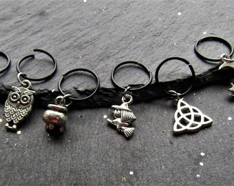 Witch Hair Rings in Black, Wicca Hair Rings, Hair Rings, Witchy Hair Accessory, Trendy Hair Accessory, Hair Jewelry, Pagan, Wicca