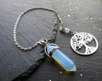 Universal Life Force Opalite Pendulum, Pendulum, Tree of Life Divination, Yes No pendulum reading,  pendulum dowsing, Angel Pendulum