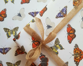 Wrapping Paper | Butterfly Wrapping Paper | Uncoated | Recyclable | Gift Wrapping | Special Occasions | Birthday Gift wrap | KatGiannini