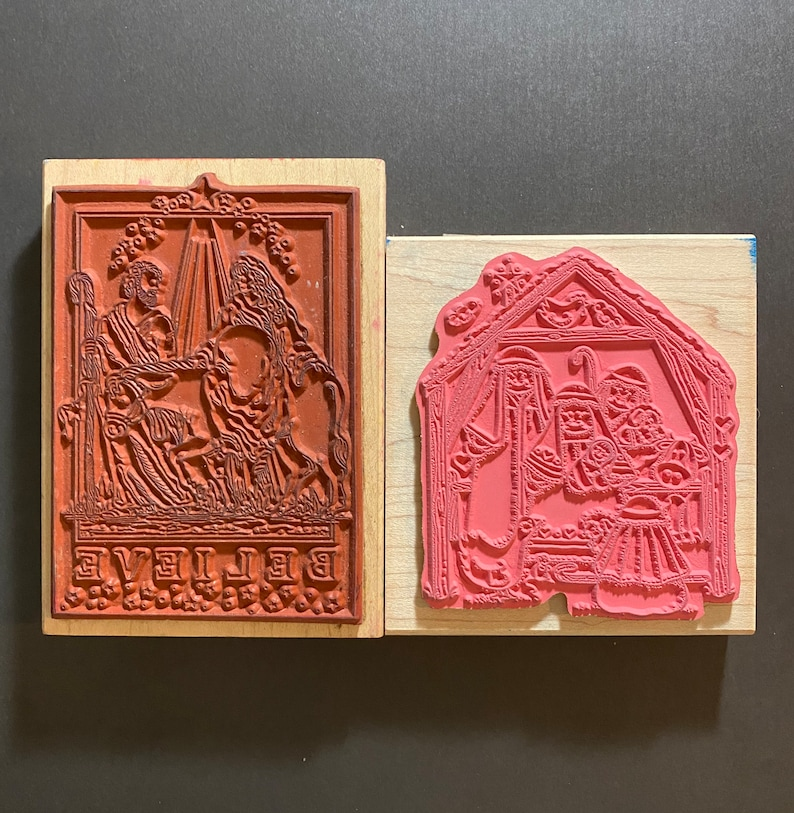 Rubber Stamp Lot 2 Nativities Free One-Day Shipping