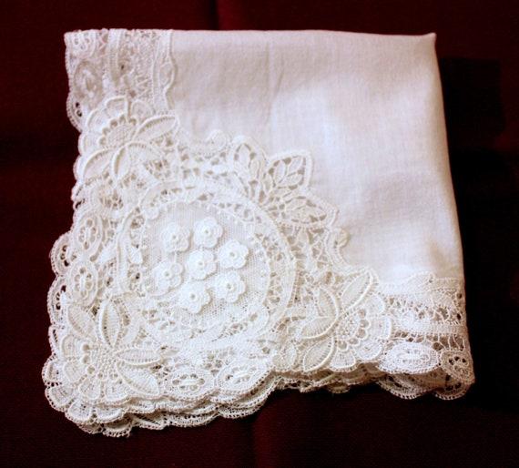 Wedding handkerchief - lace handkerchief - white … - image 5