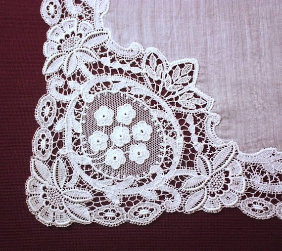 Wedding handkerchief - lace handkerchief - white … - image 3