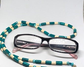 b330a1f9cf7 Blue turquoise white wood barrel glitter foil bead checker pattern Beaded  eyeglass accessory lanyard necklace