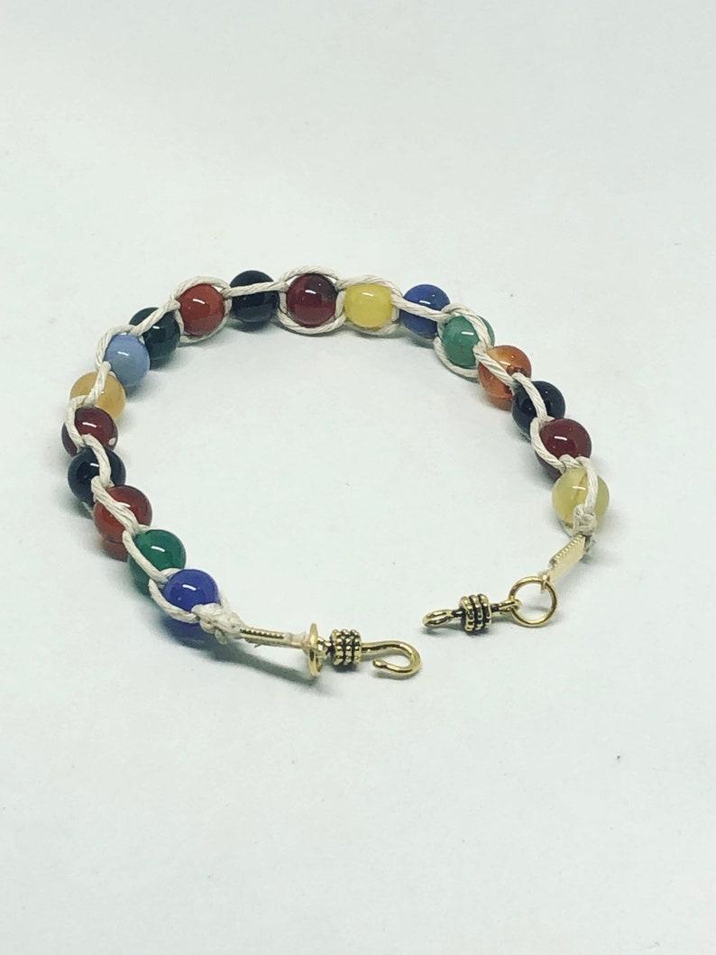 Rainbow bracelet hemp bead braided for her handmade