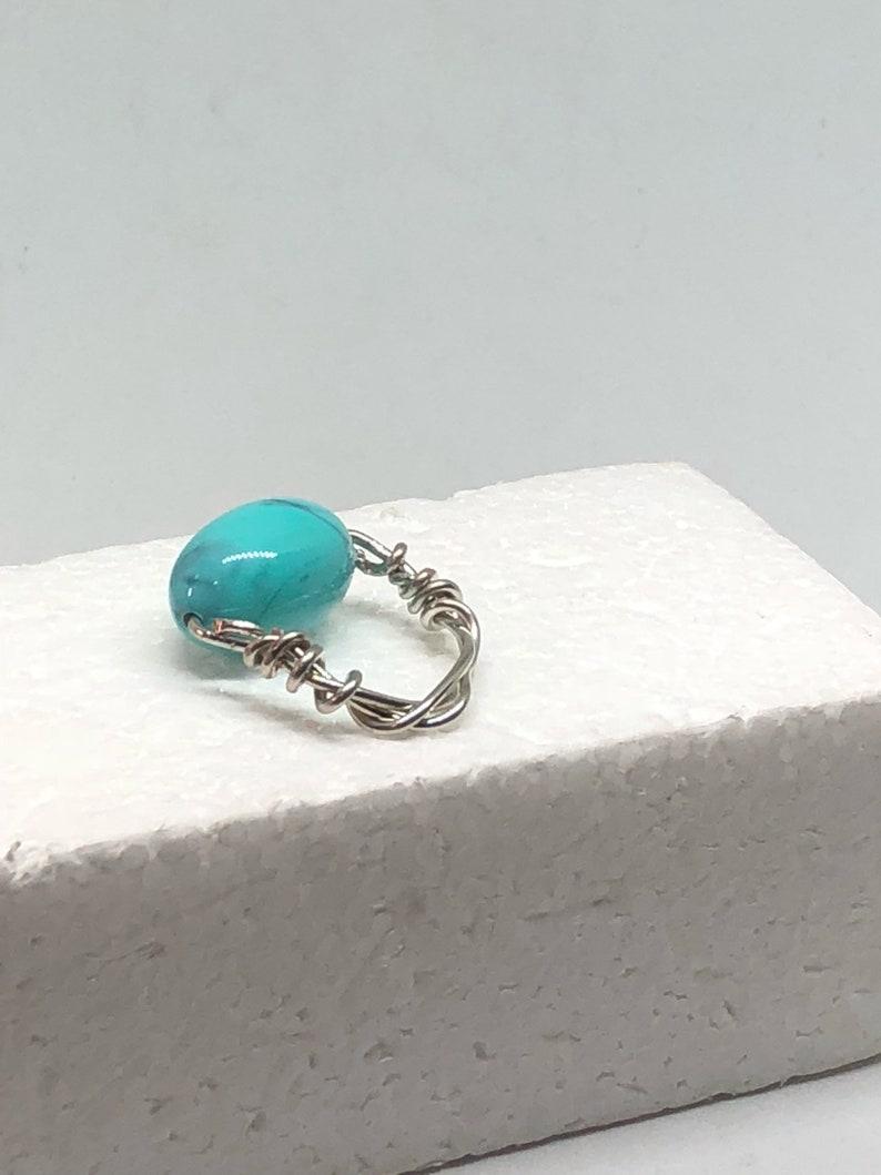 Blue turquoise robins egg twisted silver wrap tropical beach boho style beaded ring handmade
