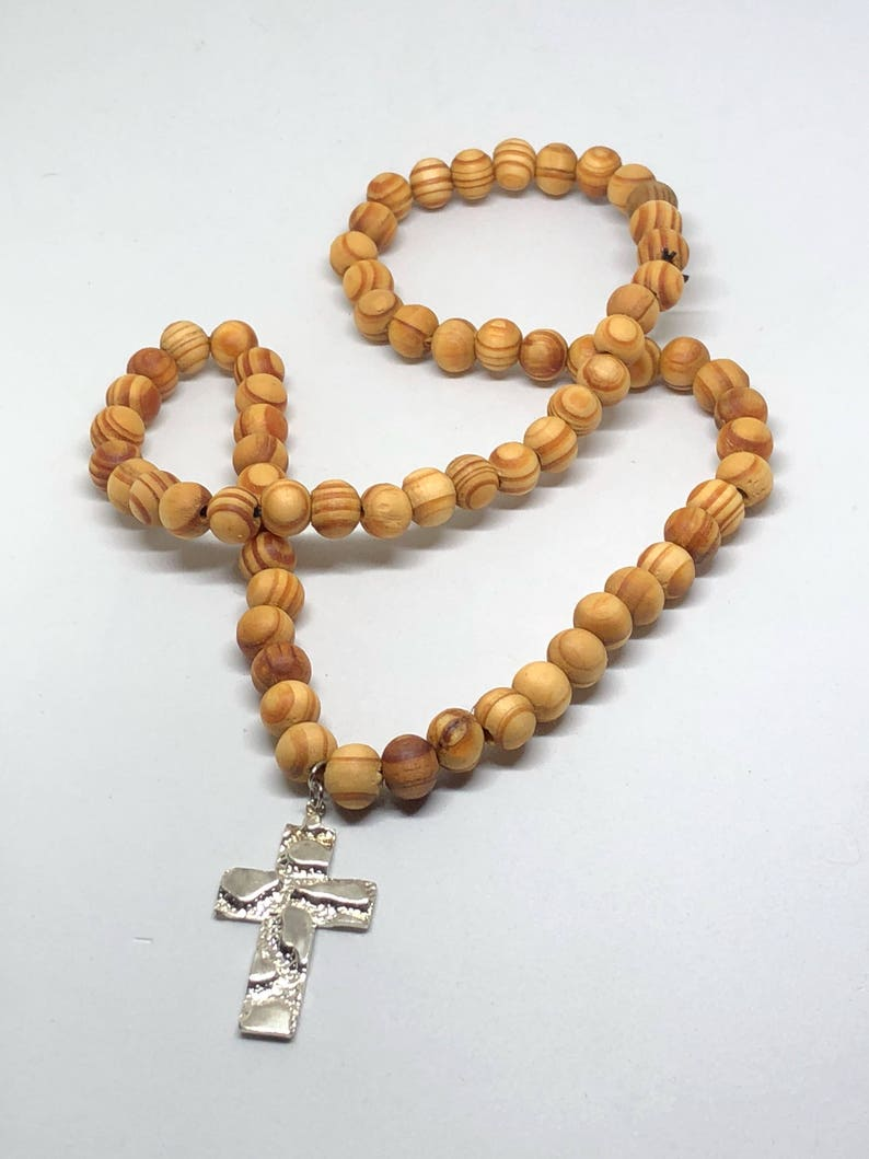 Brown Prayer Bead Cross Pendant Beaded Necklace Handmade