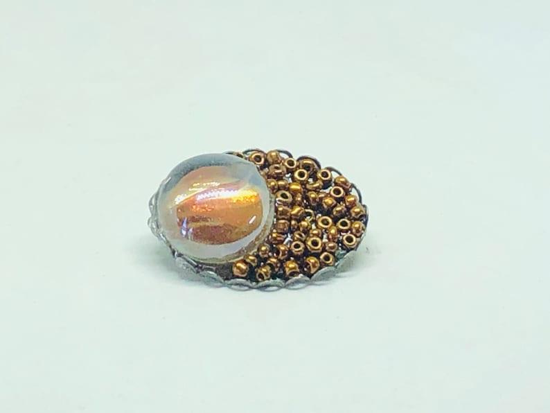 lapel pin hat pin Brown bronze pin handmade beaded pin scarf cabochon