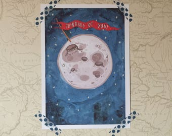 A4 Thinking of You Moon Giclee Print