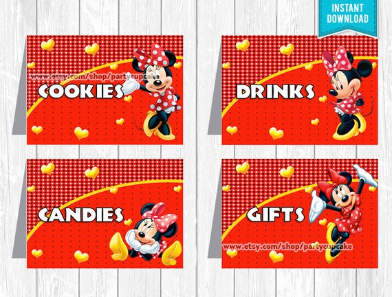 minnie mouse red food labels place cards instant download etsy