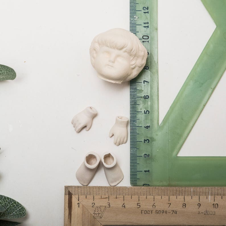 SET CERAMIC FAIENCE  Porcelain Antique Vintage doll parts create doll