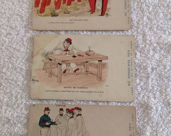 Set of Three Vintage French Postcards.