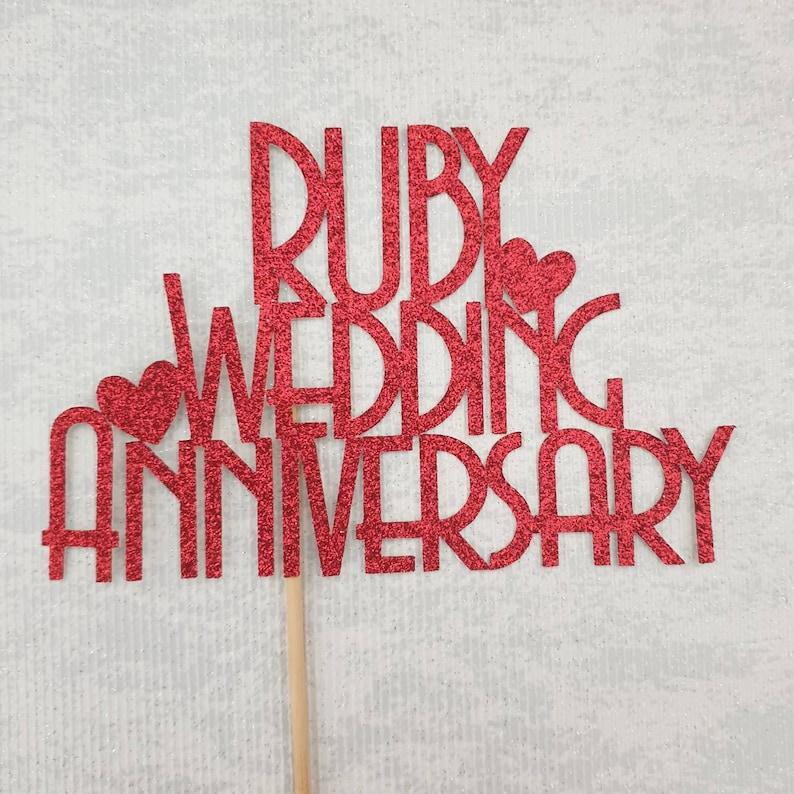 Ruby Wedding Anniversary Cake Topper 40th Anniversary Glitter Cake Centrepiece