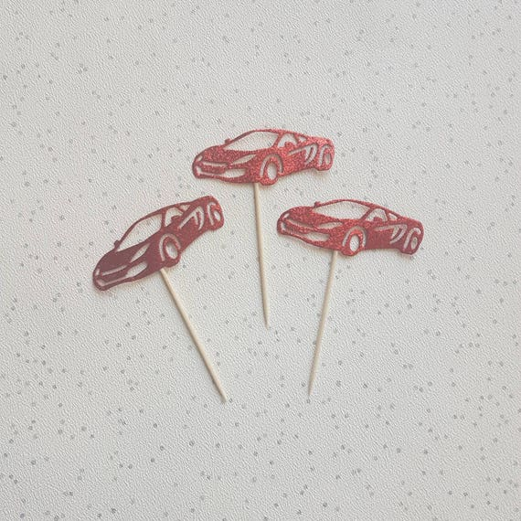 Red Glitter Sports Car Cake Topper Cupcake Topper Car Cake Etsy