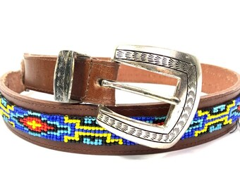 9460e94ff20c6e Southwestern Leather Beaded Belt