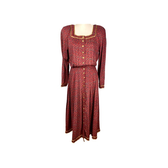 Vintage Dress, 80's Clothing, Ankle Length, Shirtw
