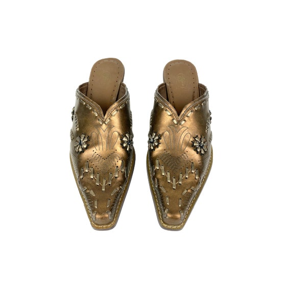Vintage Leather Mules   90's Western Mules - image 4