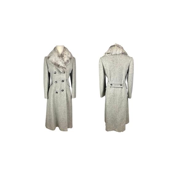 70's Wool Duster Coat   Vintage Gray Wool Fur Coll