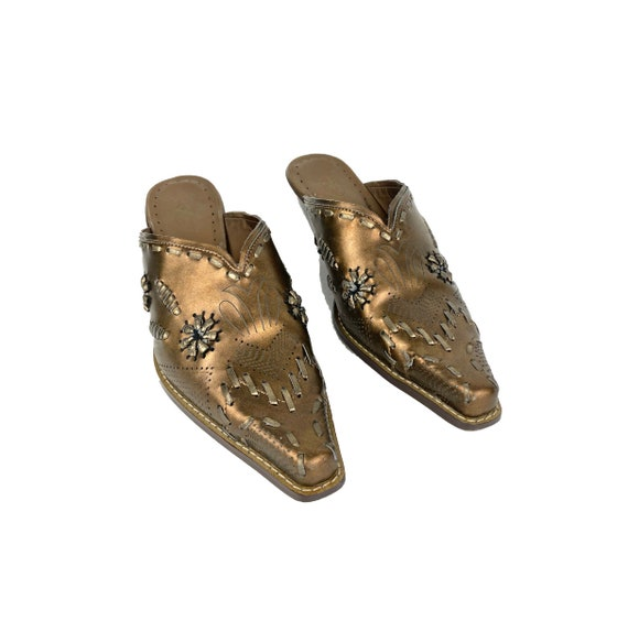 Vintage Leather Mules   90's Western Mules - image 2