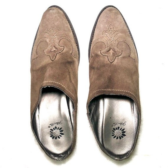 Vintage Western Mules | 90's Leather Shoes Mules - image 3