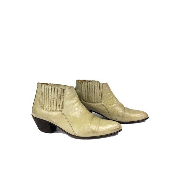 70's Vintage Ankle Boots/Beige Cream Ankle Boots/V