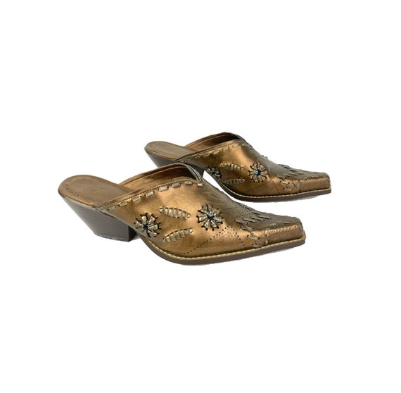 Vintage Leather Mules   90's Western Mules - image 3