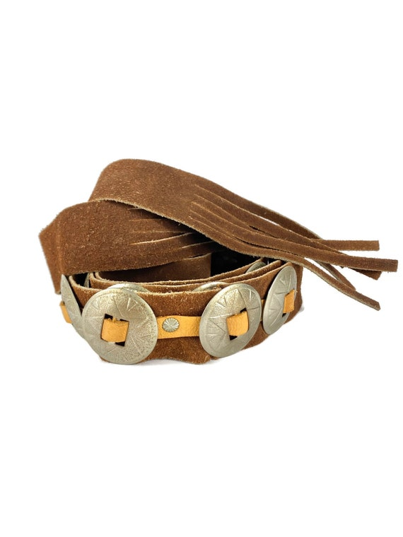 Concho Belt Vintage | 70's Western, Suede Leather