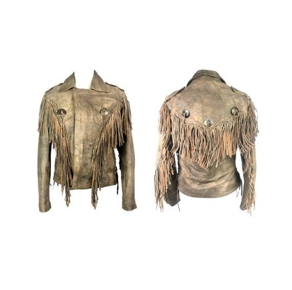 Vintage Fringe Jacket | 80's Brown Leather Jacket