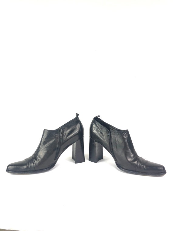 Vintage Chunky Heel Boots   80's Kenneth Cole Leat