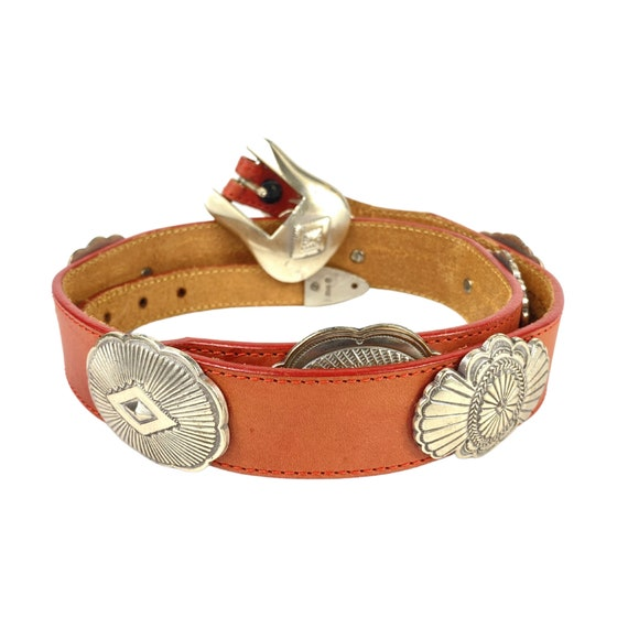 Vintage Western Concho Red Leather Belt, Western C