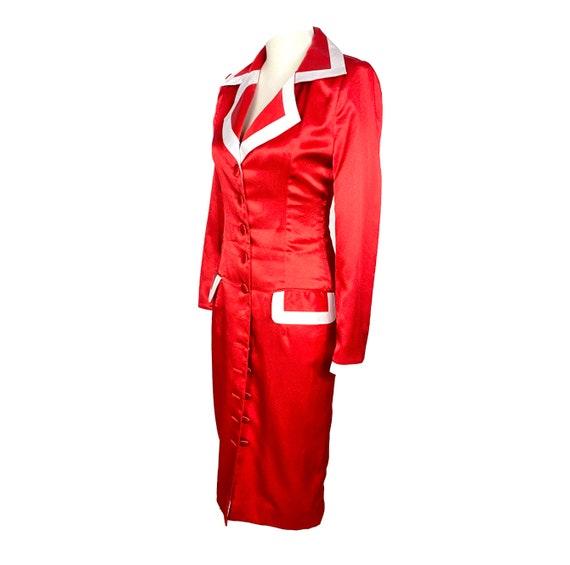 Vintage Clothing, 30's, Sheath Coat Dress, Silk l… - image 4