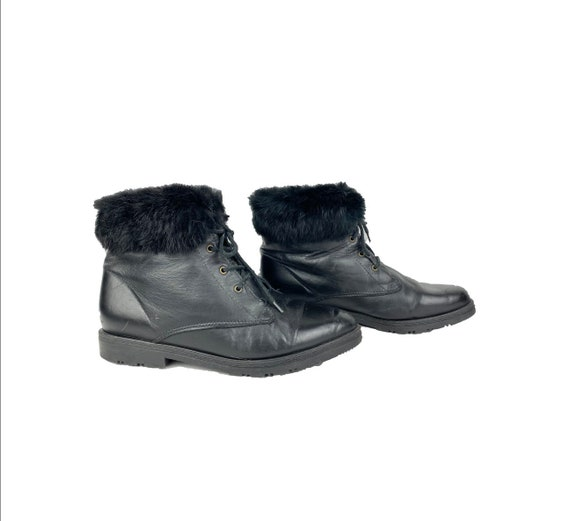 Black Ankle Boots 80's Fur Leather Lace