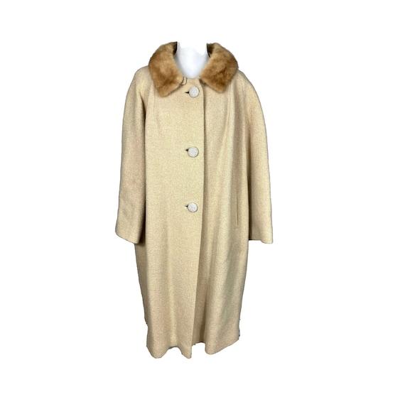 Vintage Coat, 40's Clothing, Fur Collar, Hooded, P