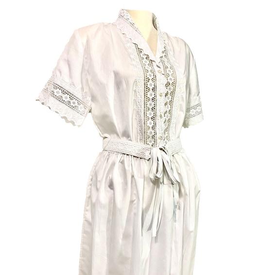 40's White Laced Dress | Vintage Prairie Dress