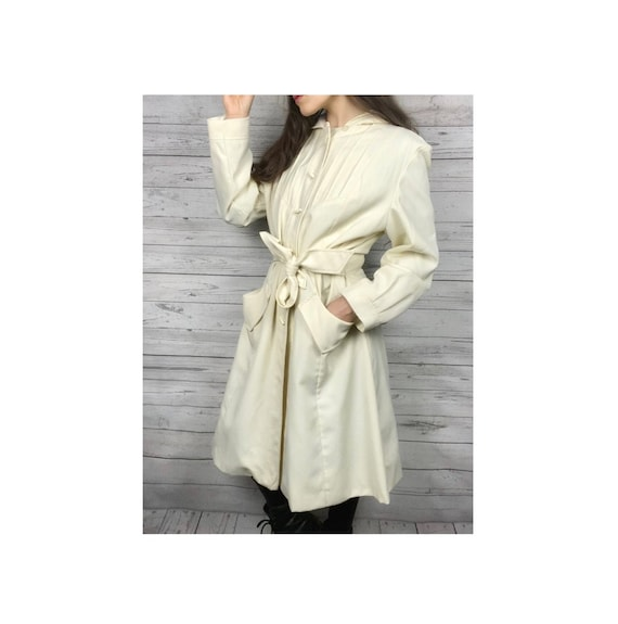 Vintage Coat, 40's Clothing, Over Coat, Off White,