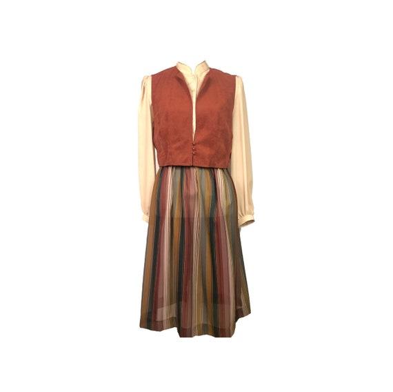 60's Shirt Waist Dress | Vintage Prairie Pleated D