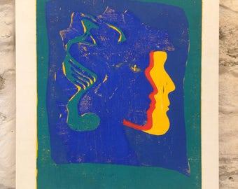 3 women, linocut print 50 x 37 cm