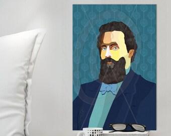 Herman Melville Portrait iconArt gallery Literature, personalized gift for book lover gift for women, for men, for Grandma, for Grandpa,