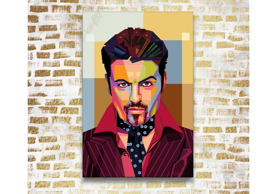 Ready To Hang Various Sizes Box Canvas: George Michael Grunge Art