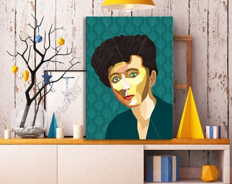 "Portrait ""Anaïs"" - Tribute To Anaïs Nin - FRAMED ART, Literature, iconArt, Personalized Gift, Name, Book Lover, Gift, For Women, For Men"