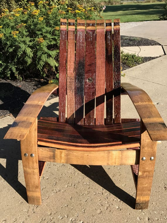 Wine Barrel Adirondack Chair Made With French Oak Red Wine Etsy