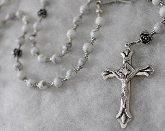 Howlite and Silver Roses Rosary; Catholic Prayer Beads; Handmade Rosary; pocket rosary; single decade rosary