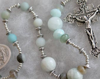 St. Francis of Assisi Tenner Rosary in Teal; Catholic Prayer Beads; Handmade Rosary; pocket rosary; single decade rosary