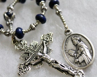 Lapis St. Dominic Tenner Rosary ; Catholic Prayer Beads; Handmade Rosary; pocket rosary; single decade rosary