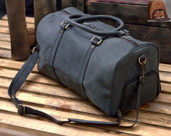 bbb75ab4e Charcoal Black Full Grain Distressed Leather Handcrafted Travel Bag with  Shoe Compartment - Weekend Bag / Duffel Bag / Large Leather Duffle