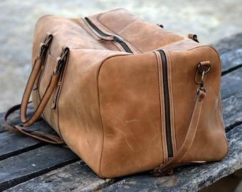 Large Leather Duffel Bag, Vintage Carry On Weekender, Hipster bag, Top Grain Duffle Luggage Bag, Gym Bag, Bon Voyage Overnight Bag   MONT5