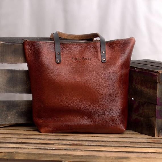 3714cd1b85e Zipper Tote bag Multi Purpose Everyday Market Bag Cowhide   Etsy